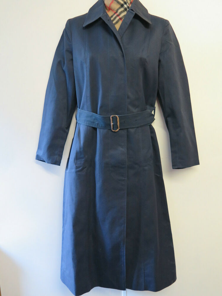 genuine burberry navy blue cotton raincoat coat mac size. Black Bedroom Furniture Sets. Home Design Ideas