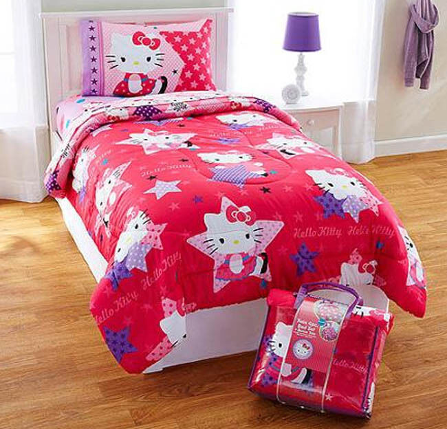hello kitty 4pc twin bedding reversible comforter sheet 16748 | s l1000