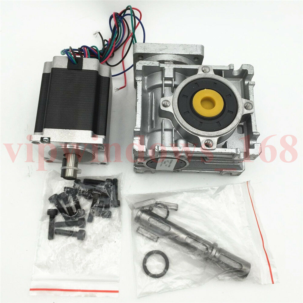 Nema23 gear ratio 7 5 1 worm gearbox stepper motor for Stepper motor gear box