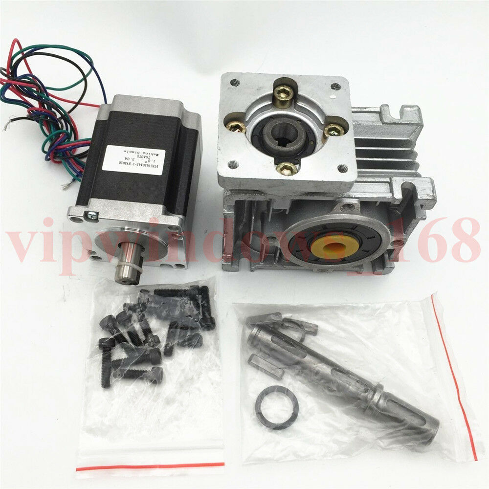 Nema23 worm gear stepper motor l56mm 11nm gearbox ratio 10 for Stepper motor gear box