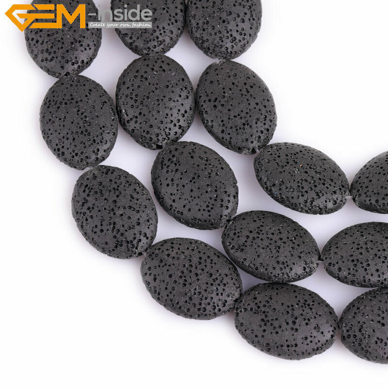 Oval flat black lava rock stone beads for jewelry making for How to make rock jewelry