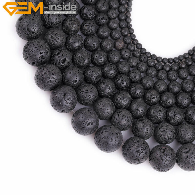 Round spong black lava rock stone beads for jewelry making for How to make rock jewelry
