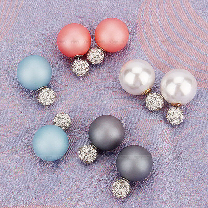 1 Pair Fashion Women Jewelry Double Sided Crystal Pearl