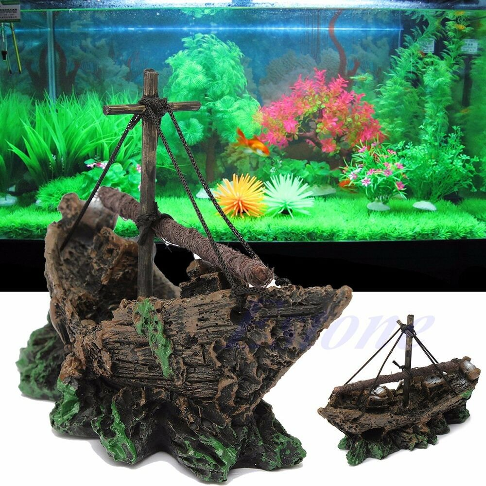 Hot aquarium ornament shipwreck sailing boat sunk for Aquarium cave decoration
