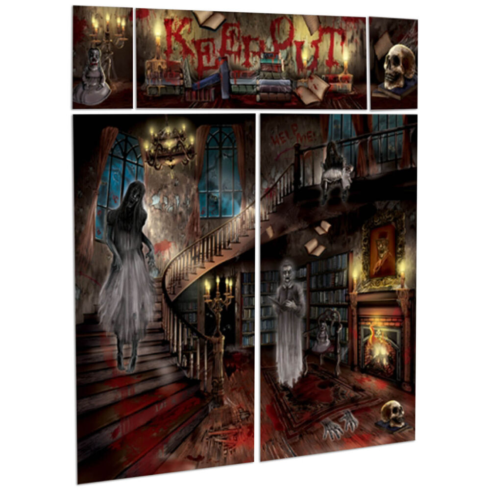 Gothic halloween haunted house mansion party scene setter