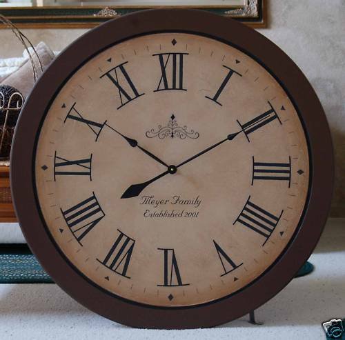 large wall clock 36 quot antique style custom tuscan oversized wood personalize ebay