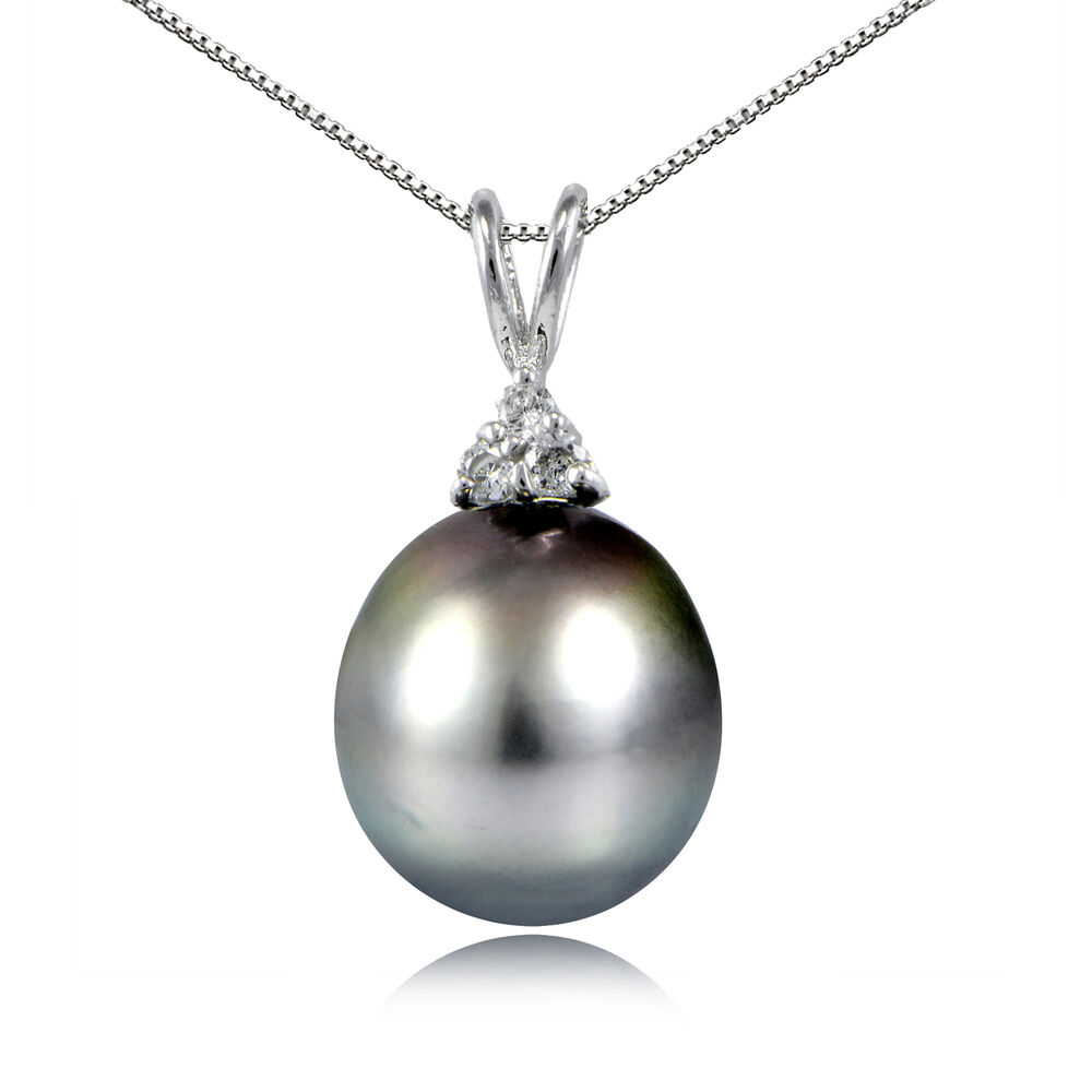 Sterling Silver 11mm Tahitian Cultured Pearl Amp White Topaz