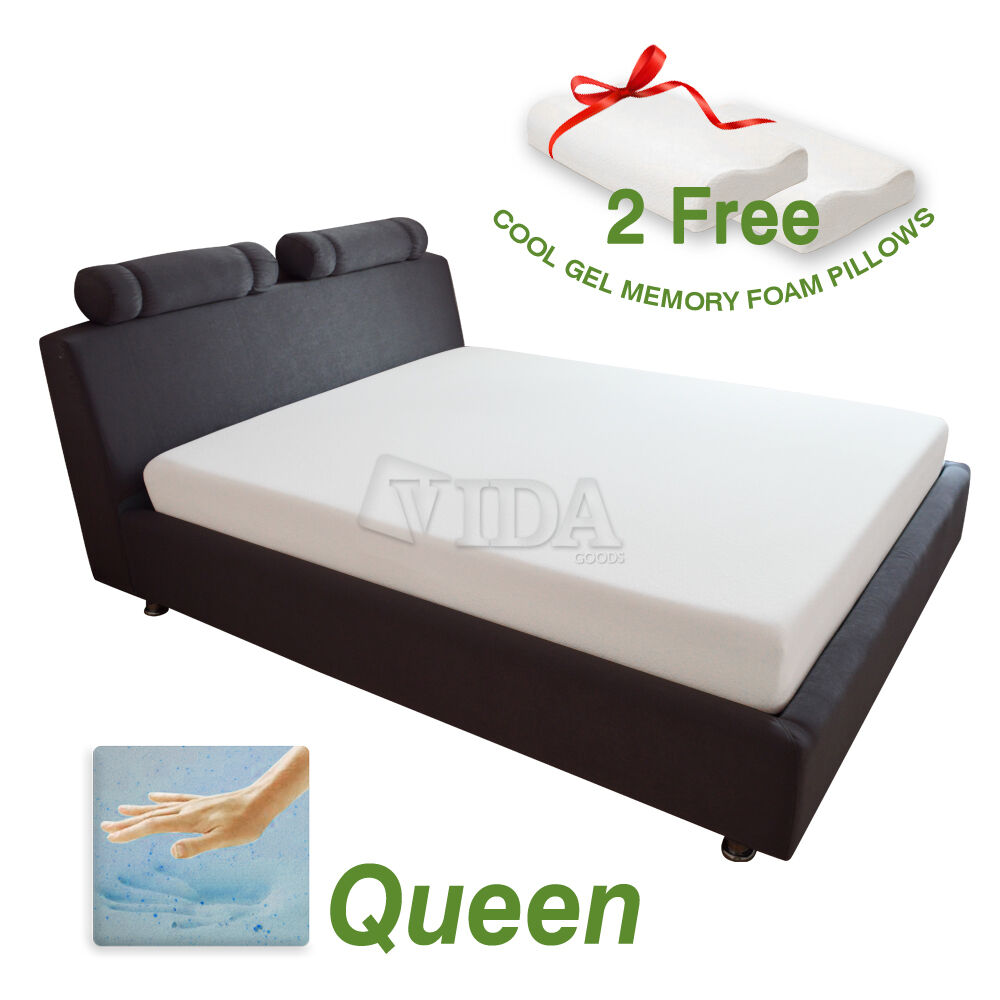 10 inch queen size cool gel medium memory foam 2 free pillows mattress cover ebay Where to buy mattress foam