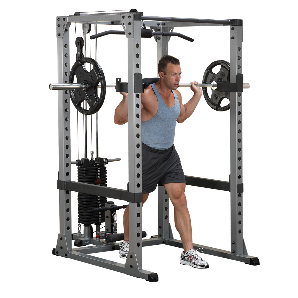 Power Rack With Weights: Power Rack, Bench, Weight Set, Lat
