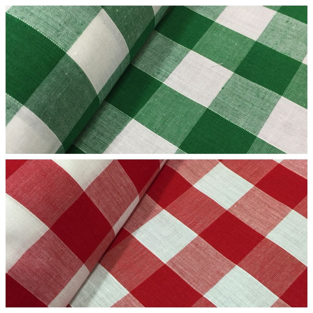 1 inch Gingham check polycotton fabric material M31 Mtex ...