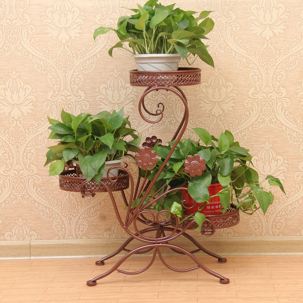 Flower Stand Designs : Tier bronze metal floor standing pot plant stand balcony