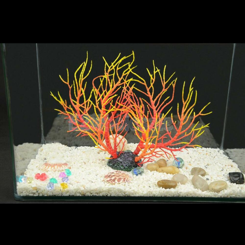 Aquarium fish tank artificial coral ornament aquatic plant for Aquarium decoration ornaments