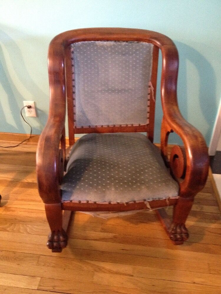 Rare 1800s Antique American Victorian Edwardian Mahogany Rocking Chair Lion Paw