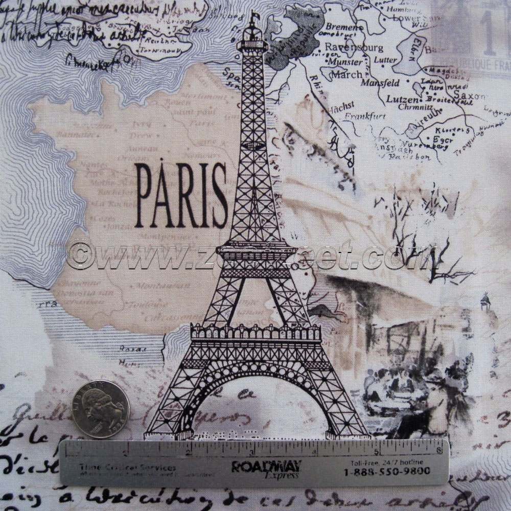 Paris Fabric By The Yard: PARIS Cream Eiffel Tower French Timeless Treasures COLLAGE