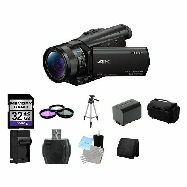 sony fdr ax100 4k ultra hd camcorder black 32gb package 27242877542 ebay. Black Bedroom Furniture Sets. Home Design Ideas