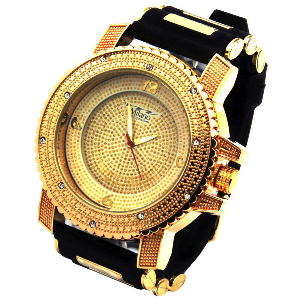 mens gold gold iced out hip hop fashion silicone