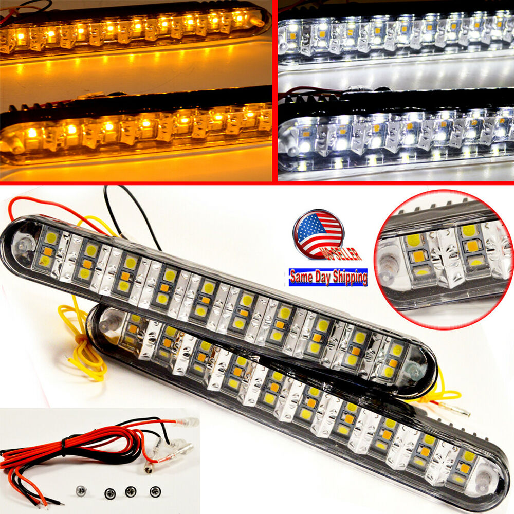 Universal 2x 30 Led Amber Turn Signal Lights Amp Drl Daytime