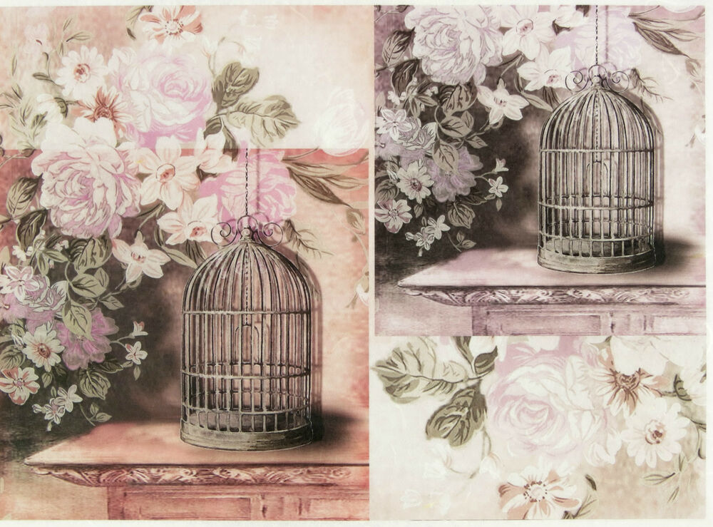 rice paper for decoupage scrapbook sheet craft vintage bird cages ebay. Black Bedroom Furniture Sets. Home Design Ideas
