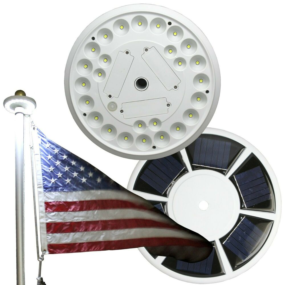 Solar 20LED Flag Pole Top Bright Light Auto Improved Design For 15 25 39 Fl