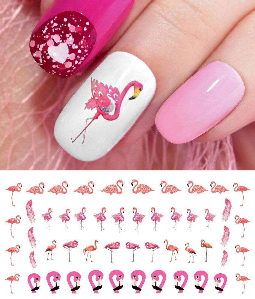 Nail Art Stickers: Flamingo Nail Art Waterslide Decals - Salon Quality!