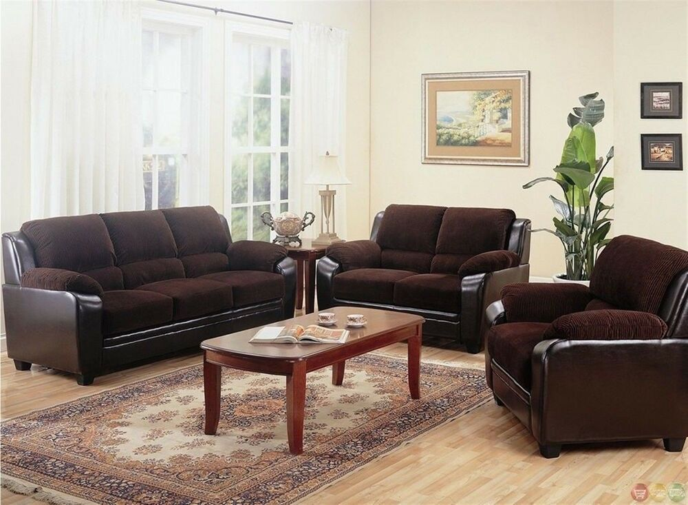 Monika Brown Corduroy Fabric Casual Living Room Furniture Set Sofa Love