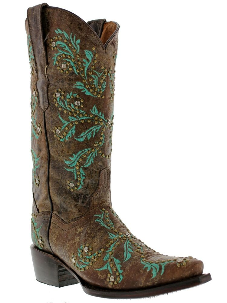 Perfect Womens Casual Brown Western Leather Cowboy Cowgirl Embroidered Rodeo Boots Snip | EBay
