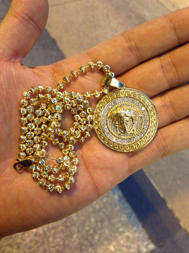 versace diamond pendant 17ct 14k yellow gold medusa pendant eBay