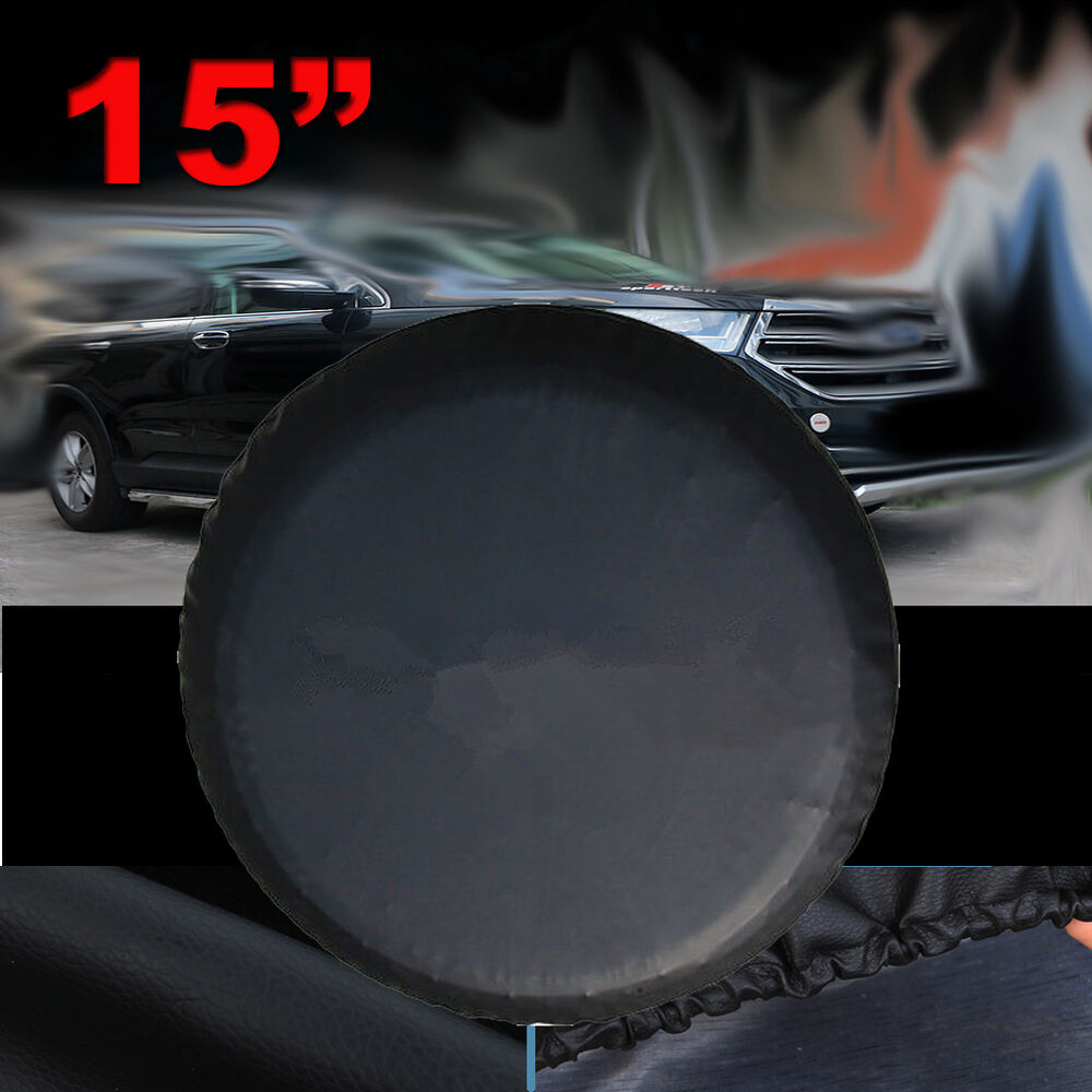 15 black spare wheel tire cover covers fit for all car universal usa brand new ebay. Black Bedroom Furniture Sets. Home Design Ideas