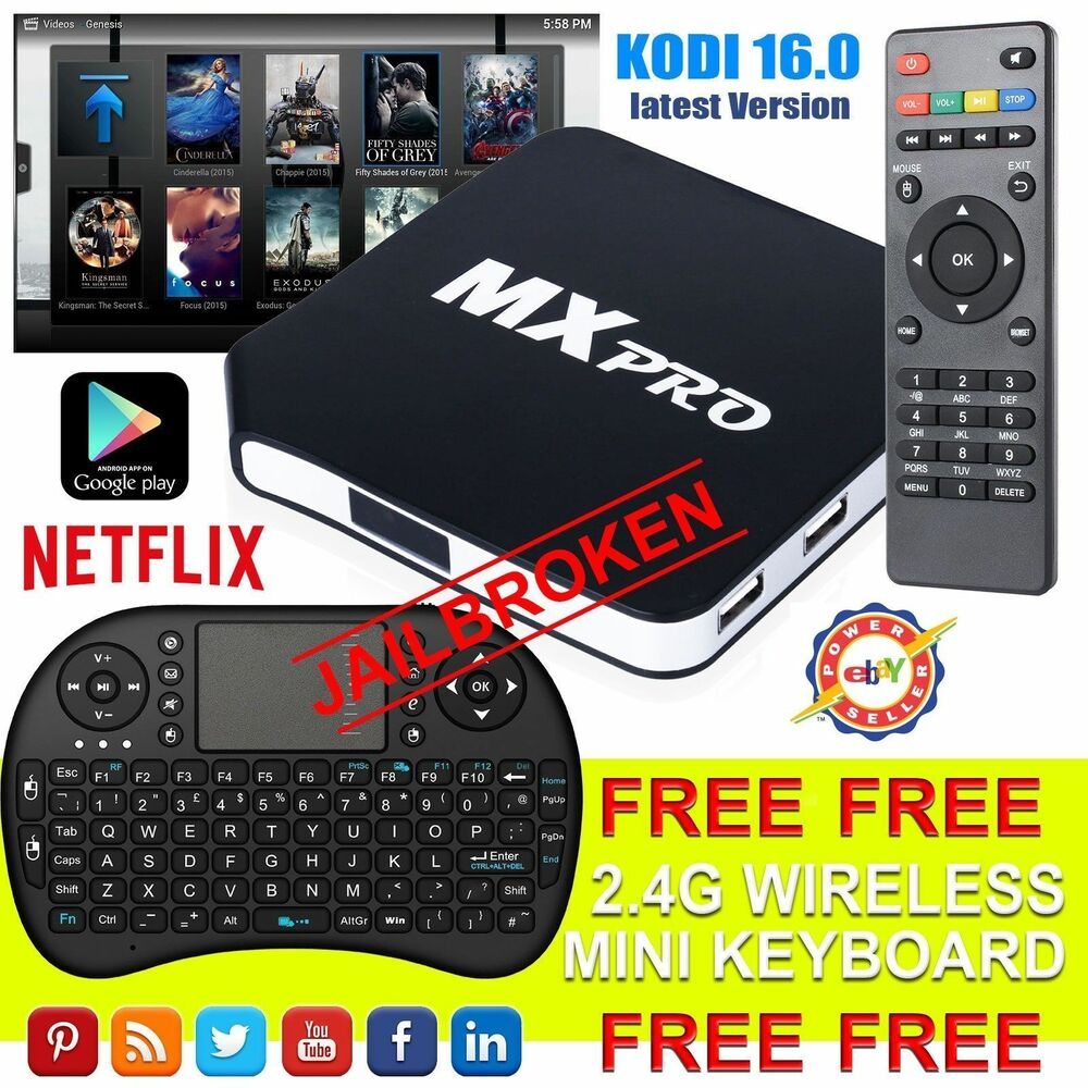 v 2016 mx pro android tv box kodi fully loaded quad core free sports film movies ebay. Black Bedroom Furniture Sets. Home Design Ideas