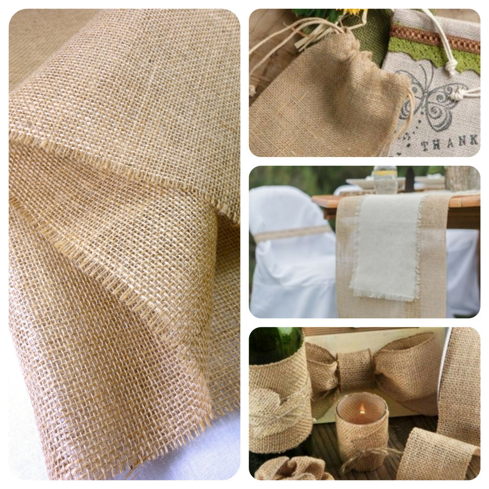 Hessian fabric natural jute burlap 54 150cm craft wedding for What is burlap material