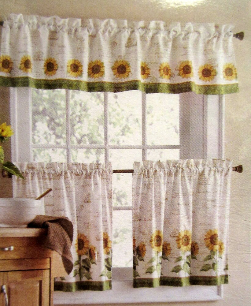 Kitchen Curtains And Valances: Sunflowers 3 Piece 24L Tiers Valance Set Kitchen Curtains