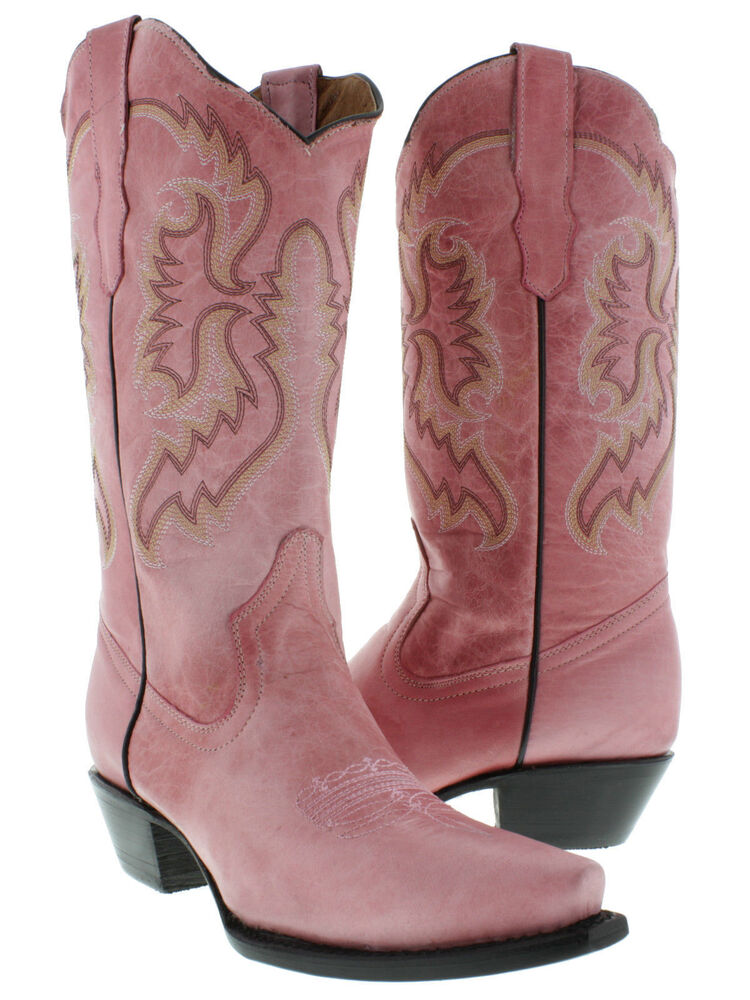 womens pink leather cowboy boots western wear