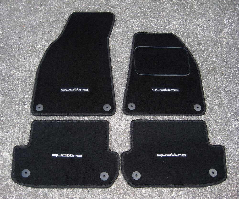 car mats in black to fit audi a4 b6 b7 2001 08 quattro. Black Bedroom Furniture Sets. Home Design Ideas