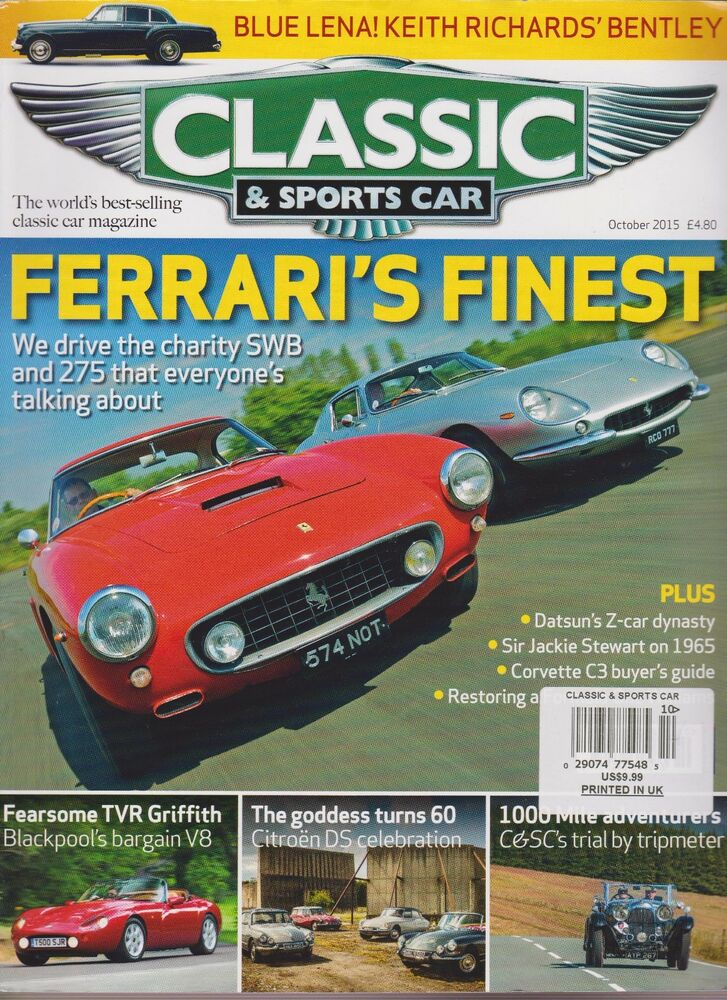 classic sports car magazine uk october 2015 ebay. Black Bedroom Furniture Sets. Home Design Ideas