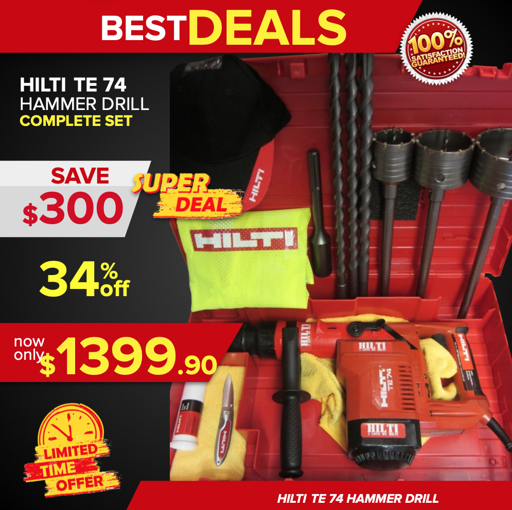 hilti te 74 great condition complete set free bits extras fast ship ebay. Black Bedroom Furniture Sets. Home Design Ideas