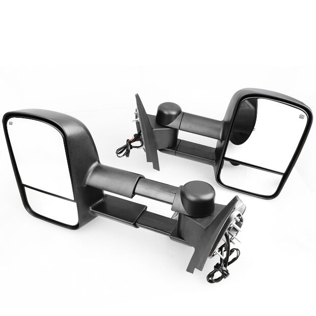 Extendable Mirrors Chevy Silverado Power Heated Towing Mirror Black LH+RH for 2007-2013 Chevy ...