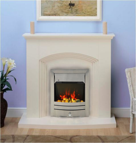 modern cream inset electric fire surround set complete