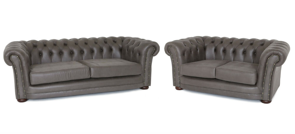 CHESTERFIELD 3 2 SOFA SET IN LUXURY GREY LEATHER MATCH  : s l1000 from www.ebay.co.uk size 1000 x 454 jpeg 33kB