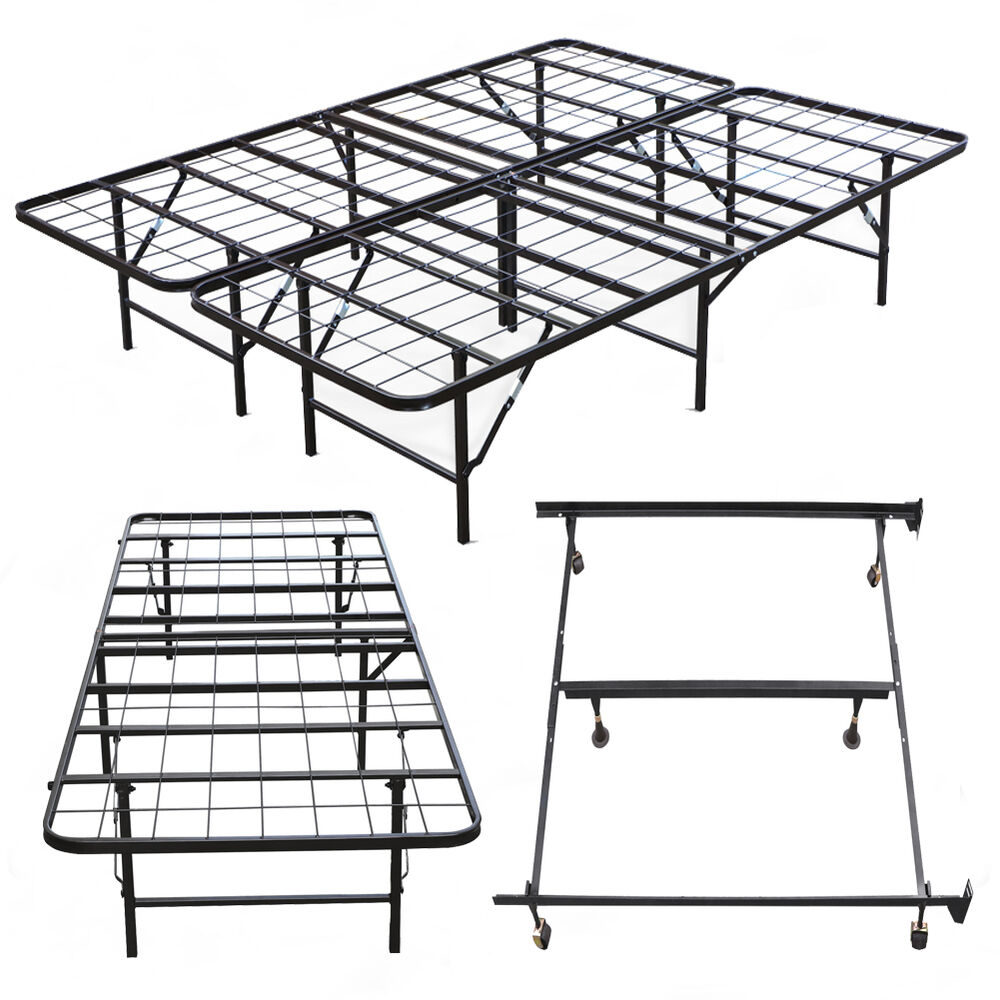 New metal bed frame platform mattress foundation twin high for High bed frame queen