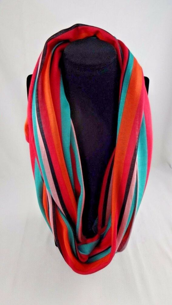 Striped Infinity Scarf Bright Colors Pink Blue Orange
