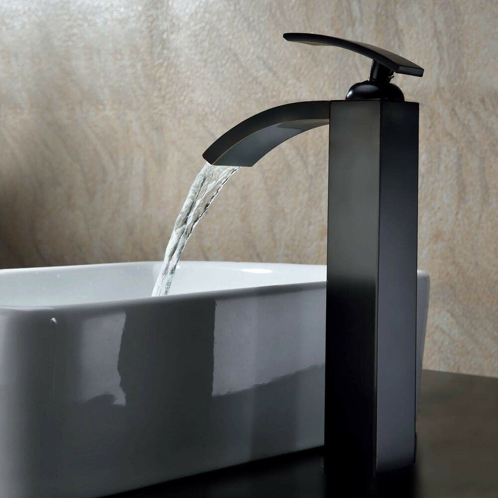 Oil rubbed bronze waterfall bathroom basin faucet vanity sink mixer 12 39 39 tall ebay for Oil rubbed bronze waterfall bathroom faucet