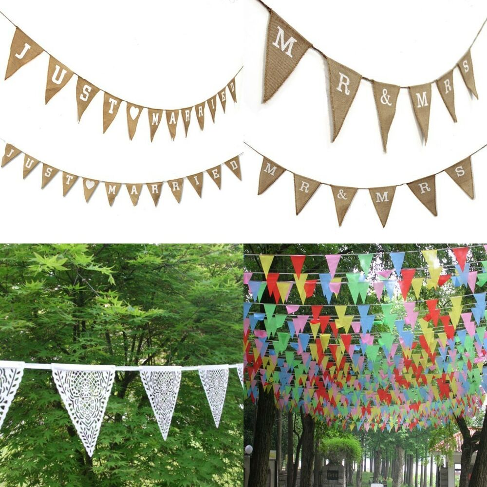 Wedding Birthday Hen Party Garland Bunting Decorations Vintage Style Shabby Chic