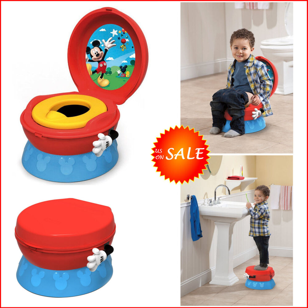 Disney toilet potty trainer chair seat toddler kid child step stool mickey mouse ebay - Mickey mouse stool ...
