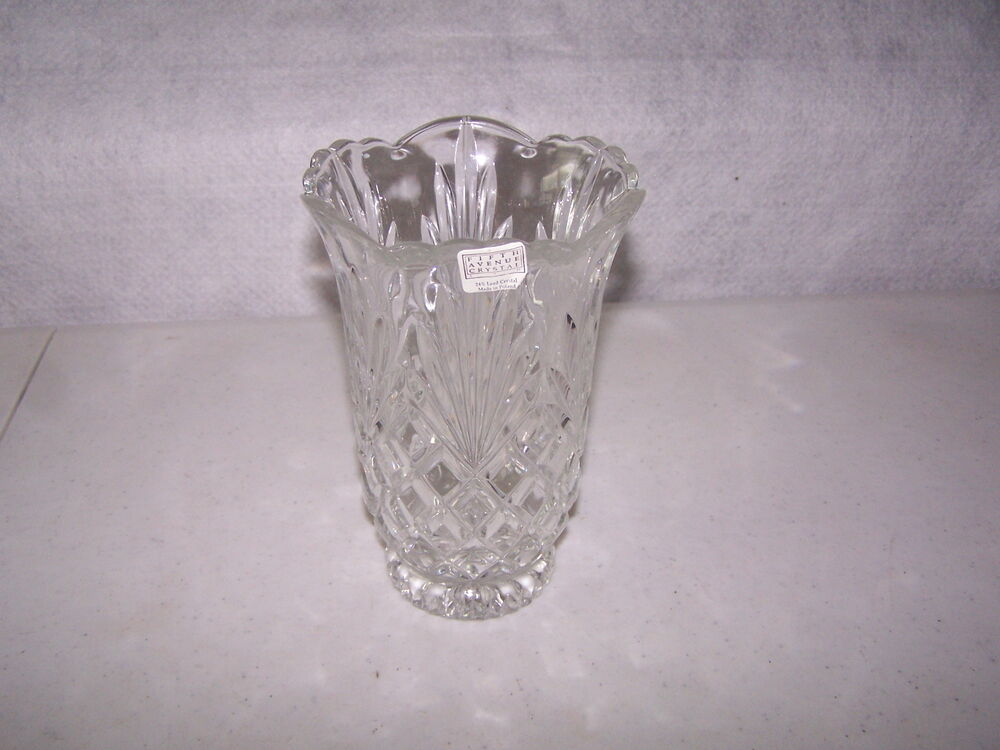 Lead Crystal Glass Vase Marked Fifth Ave Crystal 24 Lead Crystal 7 Quot X4 1 2 Quot 367 Ebay