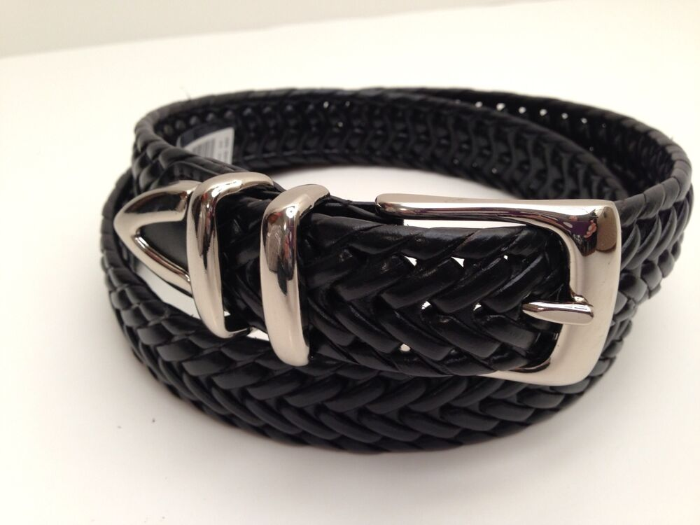 perry ellis s belt black braided leather w silver