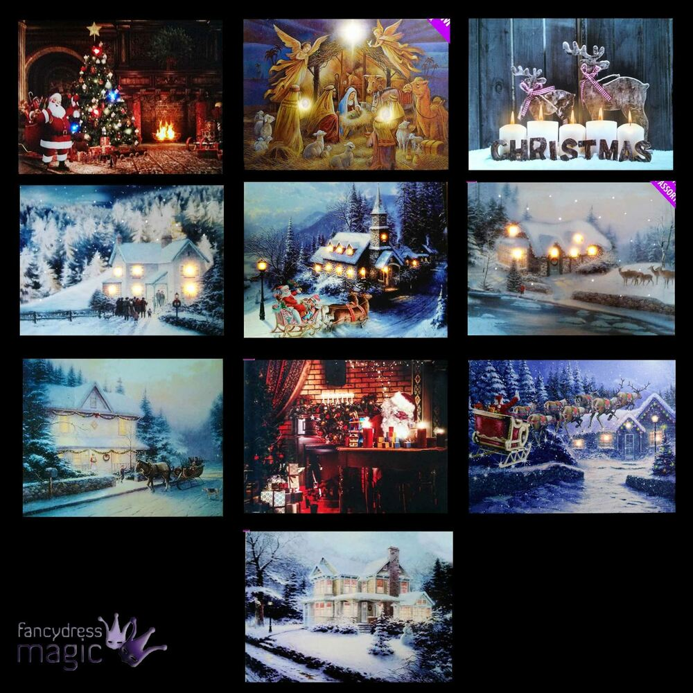 Christmas Wall Scene Decorations : Led light up hanging canvas picture xmas christmas
