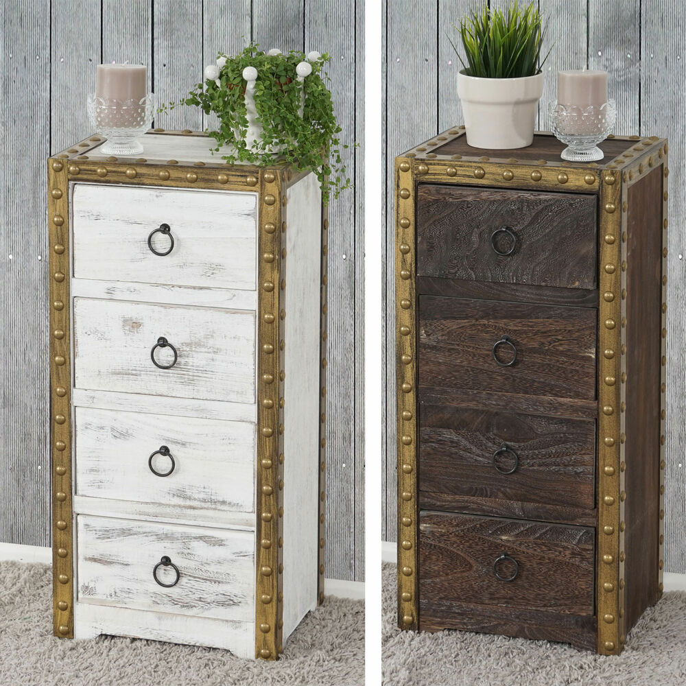 kommode duran schubladenkommode schrank shabby look vintage braun oder wei ebay. Black Bedroom Furniture Sets. Home Design Ideas