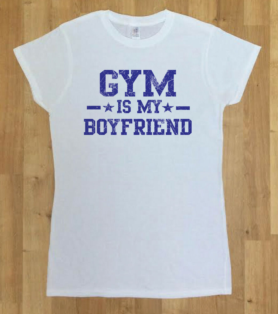 019fa101f Details about Women White T-shirt Fashion T-Shirt Gym Is My Boyfriend Slogan  Quote Funny Yolo