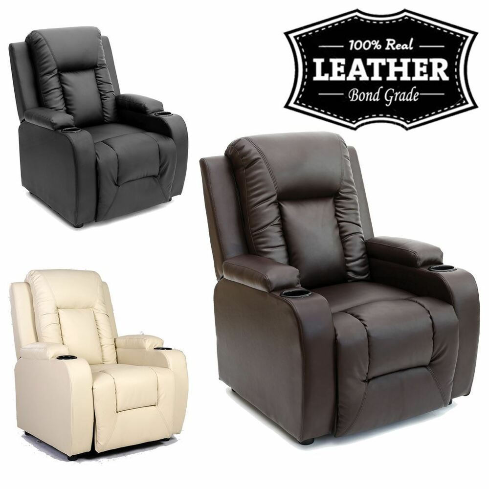 Oscar leather recliner w drink holders armchair sofa chair for Chair recliner