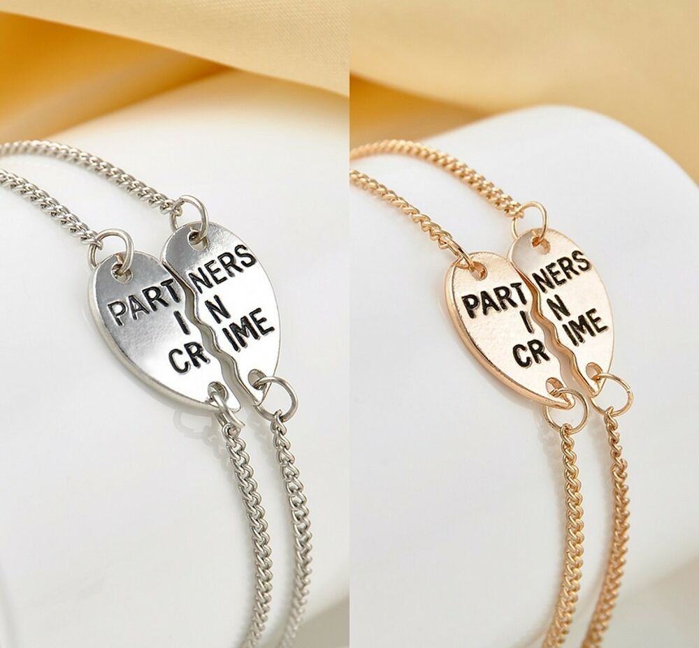 Popular Bangle Bracelets: 2Pcs Partners In Crime Heart Bracelet Charm Friendship